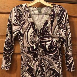 Ann Taylor 3/4 sleeve purple/black print top